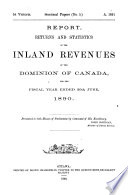Report, Returns and Statistics of the Inland Revenues of the Dominion of Canada ...