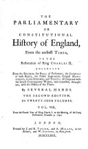 The Parliamentary Or Constitutional History of England; ebook