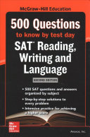 McGraw Hills 500 SAT Reading  Writing and Language Questions to Know by Test Day  Second Edition Book