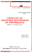 Catalog of Selected Documents in Psychology