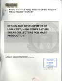 Design and Development of Low cost  High temperature Solar Collectors for Mass Production Book