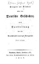 Fragen an Kinder über die deutsche Geschichte und Darstellung der für Deutschland traurigen Ereignisse seit 1792