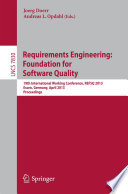 Requirements Engineering Foundation For Software Quality Book PDF