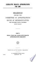 Legislative Branch Appropriations for 2007