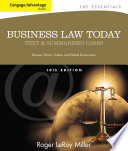 Cengage Advantage Books  Business Law Today  The Essentials  Text and Summarized Cases