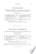 The Holy Bible  According to the Authorized Version  A D  1611   with an Explanatory and Critical Commentary and a Revision of the Translation by Bishops and Other Clergy of the Anglican Church