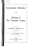 International Arbitration at the Opening of the Twentieth Century Book PDF