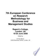 Ecrm2008 Proceedings Of The 7th European Conference On Research Methods