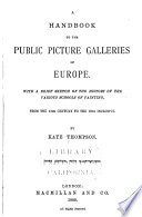 Handbook to the Public Picture Galleries of Europe Book