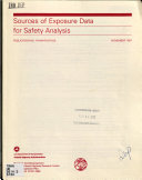 Sources Of Exposure Data For Safety Analysis Book PDF