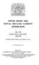 Notes from the Royal Botanic Garden, Edinburgh