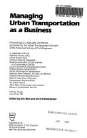 Managing Urban Transportation as a Business Book