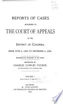 Reports of cases adjudged in the Court of Appeals of the District of Columbia