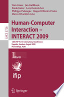 Human Computer Interaction Interact 2009 Book PDF