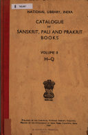 Catalogue of Sanskrit  Pali and Prakrit Books