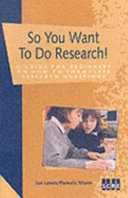 So You Want to Do Research