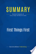 Summary  First Things First