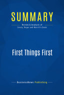 Summary: First Things First ebook
