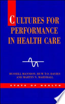 Ebook Cultures For Performance In Health Care