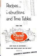 Recipes  Instructions and Time Tables for the National Presto Automatic electric Skillet