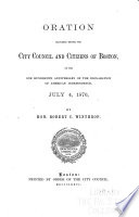 Oration Delivered Before the City Council and Citizens of Boston