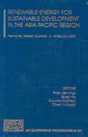 Renewable Energy for Sustainable Development in the Asia Pacific Region Book