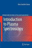 Introduction to Plasma Spectroscopy Book