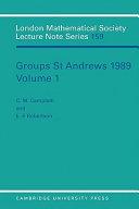Groups St Andrews 1989 Volume 1