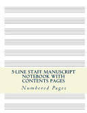 5-Line Music Staff Manuscript Notebook with Contents Pages