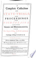 A Complete Collection Of State Trials And Proceedings For High Treason And Other Crimes And Misdemeanors 1388 1648