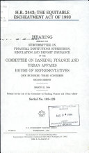 H R  2443  the Equitable Escheatment Act of 1993
