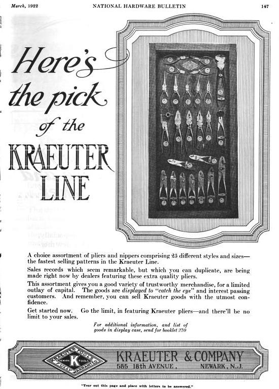 [1922 Advertisement for Kraeuter Tools]