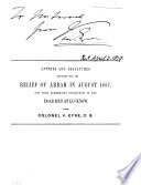 Letters and Despatches Connected with the Relief of Arrah in August 1857  and with Subsequent Operations in the Doab and at Lucknow Under Colonel V  Eyre  C B  Book PDF