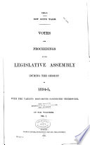 Votes and Proceedings of the Legislative Assembly Book