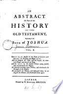 An abstract of the historical part of the Old Testament [by E. Harley].