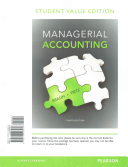 Managerial Accounting  Student Value Edition