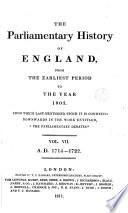Cobbett S Parliamentary History Of England 1714 1722 Book