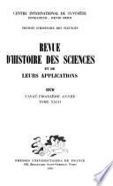 Revue d'histoire des sciences et de leurs applications