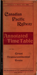 Annotated Time Table with Information as to C P R  Transcontinental Routes