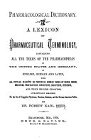 Pharmacological Dictionary  A lexicon of pharmaceutical terminology  etc