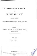 Cox s Reports of Cases in Criminal Law Argued and Determined in the Courts of England Book PDF