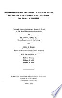 Determination of the Extent of Use and Value of Printed Management Aids Available to Small Business Book