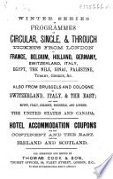 Winter Series of Programmes of Circular  Single  Through Tickets from London to France  Belgium  Holland  Germany  etc