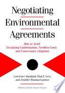 Negotiating Environmental Agreements Book