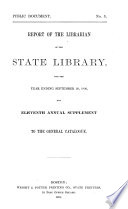 Report of the Librarian of the State Library of Massachusetts Book