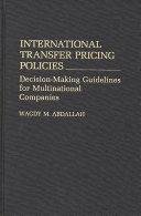 International Transfer Pricing Policies