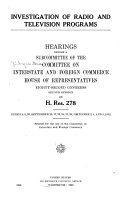 Investigation of Radio and Television Programs