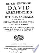 El Rei penitente  David arrepentido  Historia sagrada  etc Book