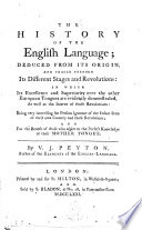 The History Of The English Language Deduced From Its Origin And Traced Through Its Different Stages And Revolutions By V J Peyton