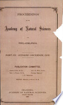Proceedings Of The Academy Of Natural Sciences Part Iii Oct Dec 1889